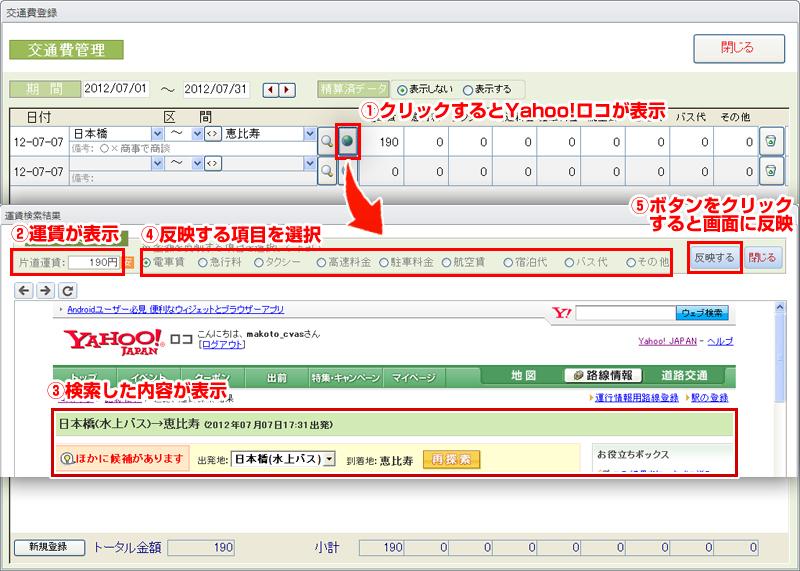 Yahoo!JAPANロコから運賃を検索