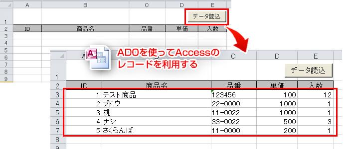 ADOを使ってAccessのレコードを利用する